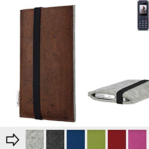 flat.design Handy Hülle Sintra für bea-fon AL250 maßgefertigte Handytasche Filz Tasche Schutz Case braun Kork