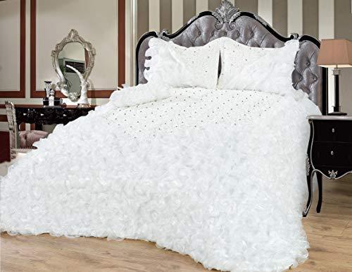 Dematex Bettüberwurf Set Tagesdecke Gelincik Deluxe Weiß/Creme – 250 cm x 260 cm 4 teilig