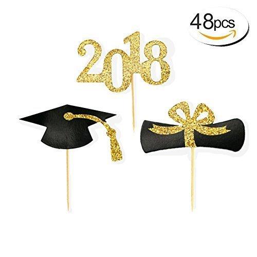(baifeng 2018Graduation Cupcake Topper, Lebensmittel/Aperitif Picks für die Graduierung Party Mini Kuchen Dekorationen, Diplom, 2018, Grad Cap 48Stück)