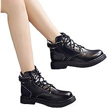 Botas de la Vendimia de Las Mujeres, británicos clásicos de la Vendimia Zapatos de la Motocicleta Thick Heel Tobillo Martin Boots Mujer Botas de Invierno a ...
