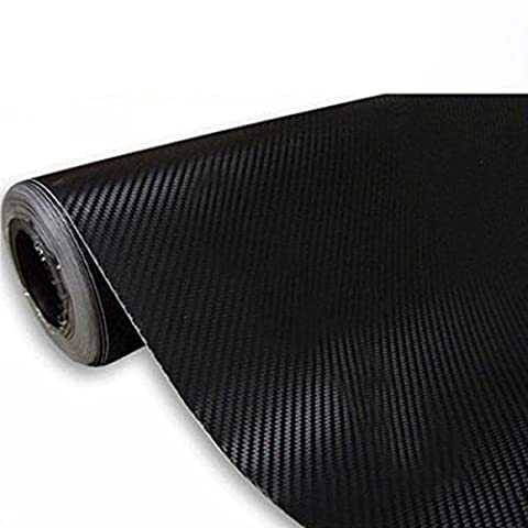 WINOMO Auto Voiture 3D Film Fibre de Carbone Autocollant Adhesif étanche 60cmx150cm Noir
