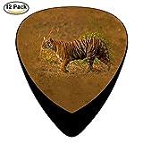 Celluloid Guitar Picks For Bass Guitar,Print Walking Tiger,12 Pack