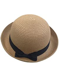 JTC Womens Ladies Sun Bowler Hat Summer Straw Hat Caps Head Wear Light Coffee