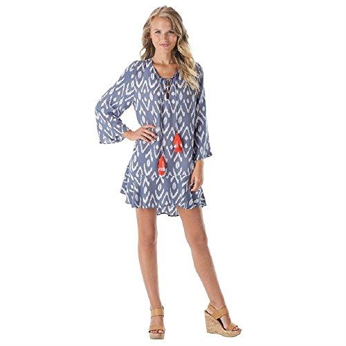 Mud Pie Damen Kleid Tenley Quaste Rayon Moos Überzug in Periwinkle Ikat Blau - Blau - Groß -