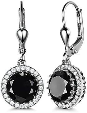 GULICX® Schwarz Ohrringe 925 Sterling Silber Rund Zirkonia Ohrhänger