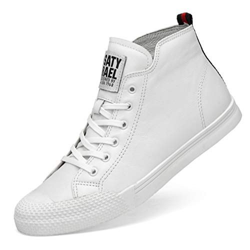 YAN Herren Casual Shoes Fall & Winter Deck Schuhe Spitze Lederschuhe Academy High-Top-Sneakers Wanderschuhe Daily Schuhe Schwarz Weiß,White,42 - Spitze High-tops