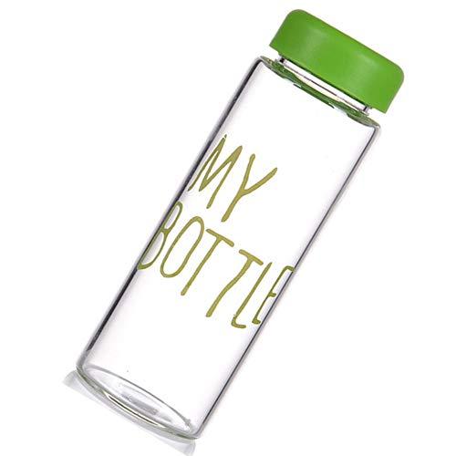 (Junyee Kunststoff Wasserflaschen, Tragbare Sport Reise Transparente Fruchtsaft Flasche Wasser Tasse für Studenten, 500 ml (reen))