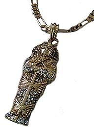 Chapado en oro colgante de piedra sepulcral Pharaoh Micro y 60,96 cm cadena Figaro HipHop