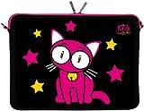 Kitty to Go LS142-10 Designer Laptop Neopren Schutzhülle 10 Zoll universal PC Netbook Tasche 9,7 bis 10,1 & 10,5 Zoll (26,67 cm) Sleeve Katze schwarz-pink