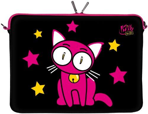 Kitty to Go LS142-10 Designer Laptop Neopren Schutzhülle 10 Zoll universal PC Netbook Tasche 9,7 bis 10,1 & 10,5 Zoll (26,67 cm) Sleeve Katze schwarz-pink -