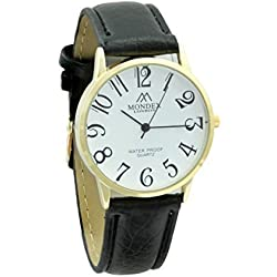 Mondex / Azaza / MABZ Ladies Gold Plated PU Leather Strap Watch (Black Strap With White Dial)
