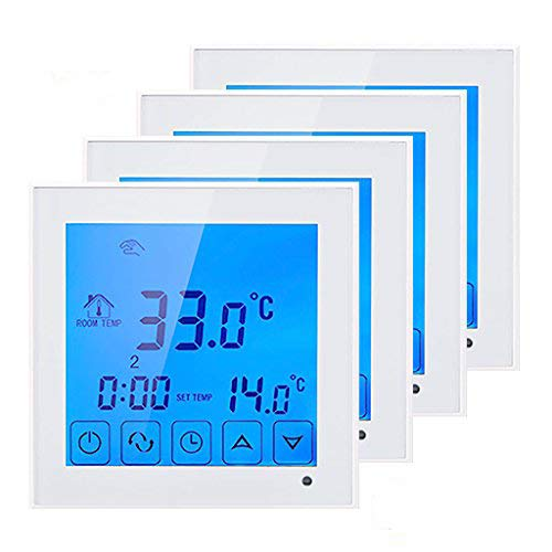 BEOK TDS23-WP Fußbodenheizung Wasser Heizung Digital Raumthermostat Thermostat Mit Großen Touchscreen, Programmierbar Temperatur Controller AC200-240 V 3 A, 4 Stück, Weiß, 230.00 voltsV -