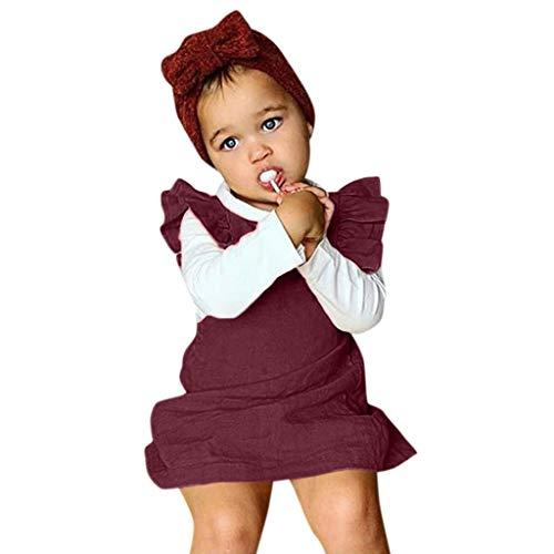 KIMODO Kleinkind Baby Mädchen Kleid Einfarbig Rüsche Rückenfrei Kleid Urlaub Sommer Ärmellos Prinzessin Outfit Kleidung