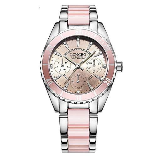 YEARNLY Damen Wasserdicht Uhr Frau Minimalism Rosa Weiß Edelstahl Mesh Armbanduhr Mann Sport Modisch Chronographen Design Ultra Dünne Einfach Analog Uhren