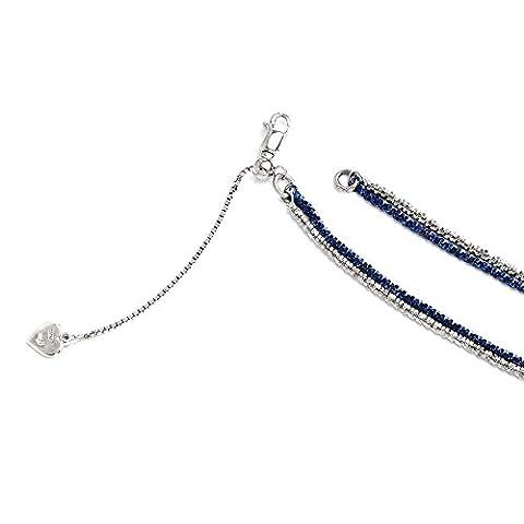 IceCarats Designer Schmuck Leslies Sterling Silber Doppelstrang einstellbar (18-20) in 20 Zoll