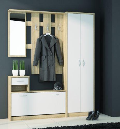 Garderobenset Garderobe mit Spiegel 16838 sonoma eiche  alpinweiß