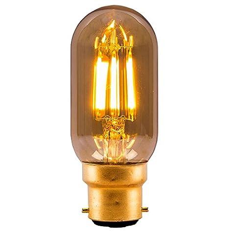4w Lampadina tubolare LED classico filamento Tappo a baionetta BC B22 - Ambra 2000k (01438)