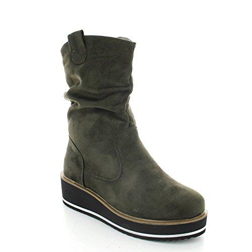 Ideal Shoes, Damen Stiefel & Stiefeletten Grün