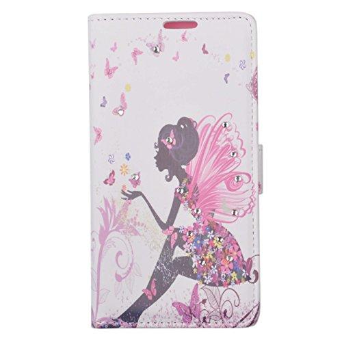 Voguecase® Per Apple iphone 5C,(sette fiori colorati) Elegante borsa in pelle Custodia Case Cover Protezione chiusura ventosa Con Stilo Penna farfalla ragazza