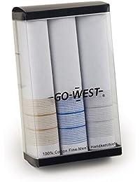 Go West - Juego de 3 pañuelos para hombre (algodón), color blanco