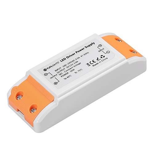 YUNLIGHTS LED TRAFO 12V DC, 0-36W max. 3A, LED Treiber/Driver/Transformer 12V stabilisierte Spannungsquelle für LED Lichtstreifen, Schrank Licht, LED-Anzeige, Deck Licht, LED Display, MR16, G4, MR11 (Dc-led-treiber)