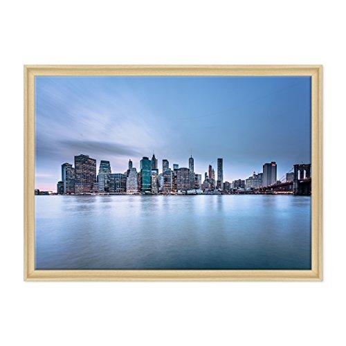Bild auf Leinwand Canvas - fertig zum Aufhängen - NY New York - Brooklyn Fiume East River Manhattan - USA Amerika Dimensione: 70x100cm C - Colore Legno Naturale Contemporaneo