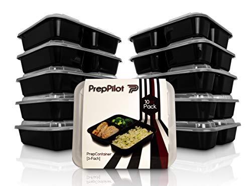PrepPilot® Premium Meal Prep Container [3-Fach] Modell 2019 [10er Pack]   Optimierte Haltbarkeit   Stabil & Verstärkt   Wiederverwendbar, Zertifiziert & BPA-Frei