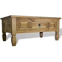 Mesa de centro rústica de Pino Mexicano con cajón
