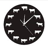 guyuell Wanduhr Bauernhaus Nutztiere Die Bison Schlafzimmer Wand Dekor Highland Kuh Wanduhr Bull Buffalo Dekorative Hängende Uhr