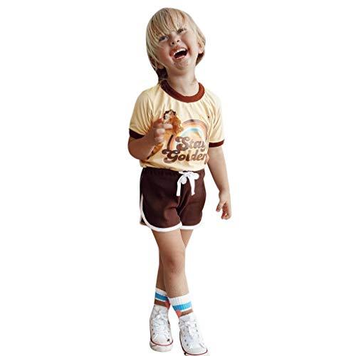 Dasongff Junge Baumwolle Kurzarm T-Shirt und Shorts Cartoon-Muster Bekleidungsset Set Regenbogen Tee Kurz Zweiteiliger Schlafanzug Boy's Short Pyjamas Skull Mantel