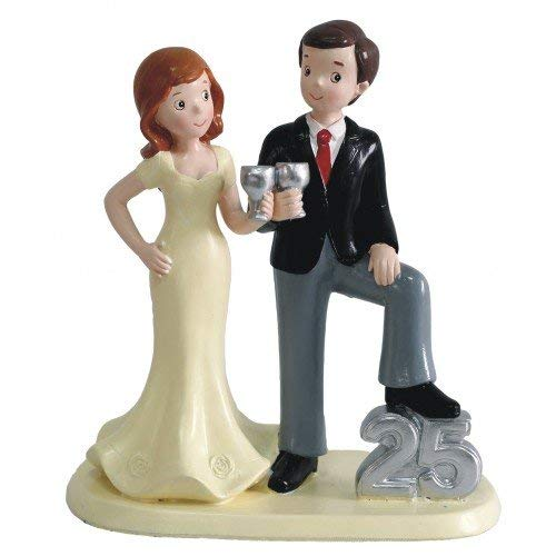 Figure silver wedding cake 25 anniversary ENGRAVING / PERSONALIZED figures cheap cake cups
