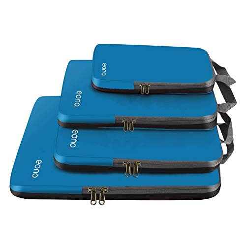 Eono by Amazon - Organizzatori da Viaggio a Compressione, Organizer Valigia Set, Cubo di Viaggio, Cubi di Imballaggio, Compression Packing Cube, Blu scuro 4 Set
