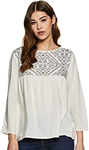 Styleville.in Women's Quarter sleeve rayon top with printed