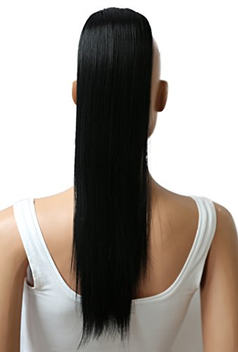 PRETTYSHOP 50cm Haarteil Zopf Pferdeschwanz glatt Haarverlängerung hitzebeständig wie Echthaar schwarz # 1 H56