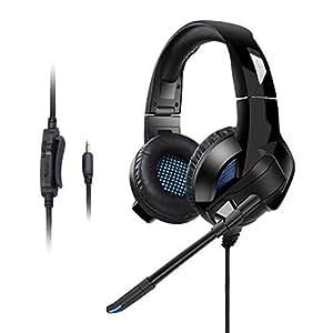 AudioMX Cuffie Gaming da Gioco di Fascia per PC e PS4 Salone Virtuale Surround 7.1 Over-ear la Regolabile Audio Auricolare con Stereo Mic Basso Luce con CD-ROM Software Set Up