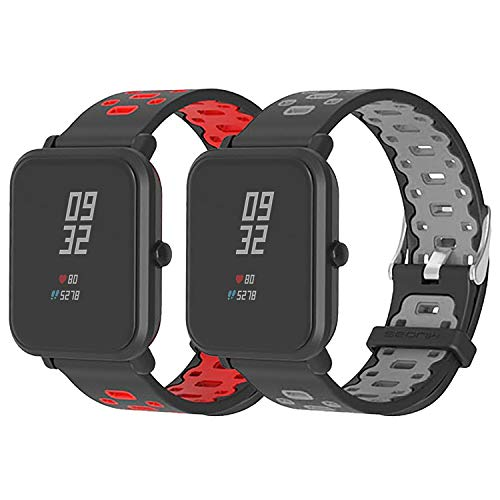 SenMore Correa para Xiaomi Amazfit Bip Younth - 20mm Silicona Pulsera Impermeable Correas de Repuesto para Galaxy Watch 42mm, Gear S2 Classic, Huawei Watch 2, Huami Amazfit Bip (20MM, 2PCS Sport M)