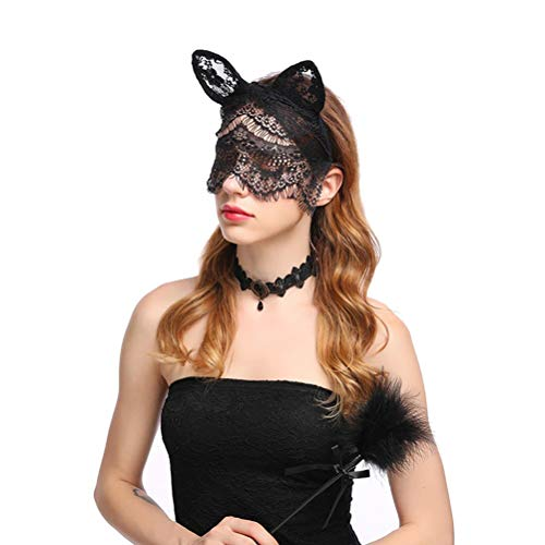 BESTOYARD Cat Headpiece Headband Lace Headwear Mask Veil Headband Halloween Party Decor for Nightclubs Masquerade Halloween Christmas Cosplay