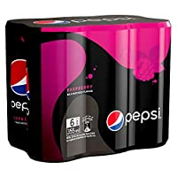 Pepsi Black, Carbonated Soft Drink, Slim Raspberry Flavour Can, 355 ml x 6