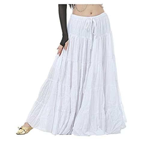 Seawhisper Belly Dance 16 Yard Bohemia Skirt, Swing Skirt, Tiered Maxi Tribal Gypsy Skirt Flared Long Retro Vintage Beach Summer Linen Dress Costume with Gold Coins Belt Waist Chain (white)
