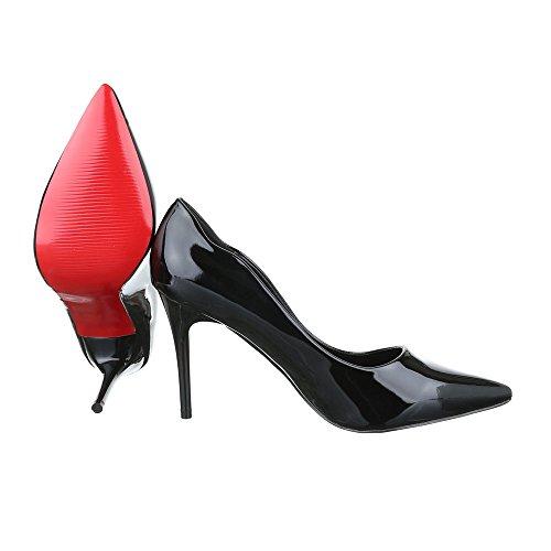 High Heel Damen Schuhe Plateau Pfennig-/Stilettoabsatz High Heels Ital-Design Pumps Schwarz 66-14