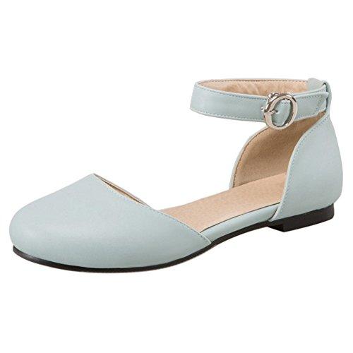 COOLCEPT Femme Mode Sangle De Cheville lacets sandales Plat Bout Ferme Chaussures taille Bleu