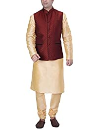 KISAH Men's Beige Silk Blend kurta and Churidar with Red Cotton Silk Nehru Jacket