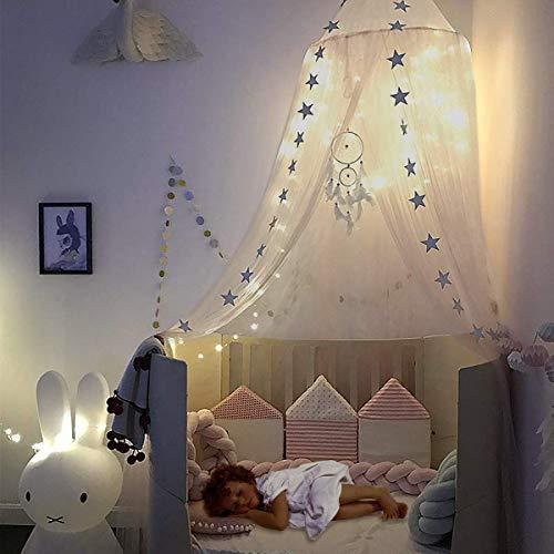 Lace Bed Canopy Round Dome, lebende Lace Moskitonetz für Kinder Kinder White Fairy Net Twin Bed Spielzelt Leseecke Baldachin -
