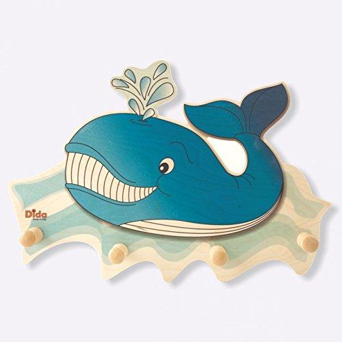 Dida - attaccapanni da parete in legno per arredare la camera dei bimbi con l'animale marino balena