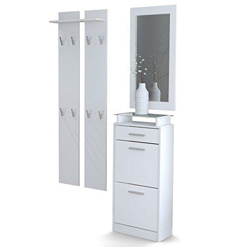 Garderobenset Garderobe Loret V2 Mini, Korpus in Weiß matt/Front in Weiß matt