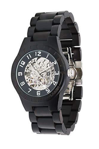 LAiMER Herren-Armbanduhr RUDOLPH Mod. 0050 aus Ebenholz - Analoge Automatikuhr mit Skelett-Uhrwerk - 21 Jewels