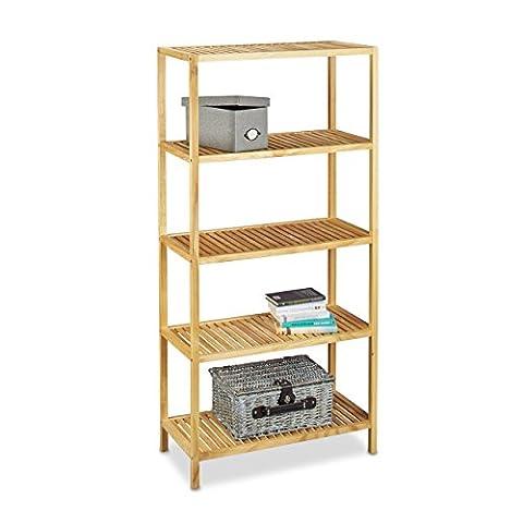 Relaxdays Holzregal H x B x T: 150 x 72 x 36 cm Standregal aus massivem Kiefernholz mit 5 Ebenen als Bücherregal oder Badregal nutzbar großes Lagerregal mit viel Ablagefläche Regal aus Holz, natur