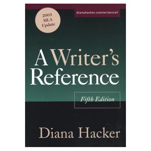 A Writer's Reference: With 2003 MLA Update by Diana Hacker (1-May-2003) Plastic Comb