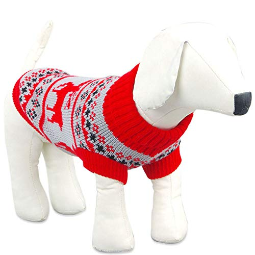 Kostüm Rentier Muster - Weihnachten Haustier Hund Kleidung Pullover Pullover Strickpullover Overall Elch Muster Rentier Mantel Geeignet Für Kleine Und Mittlere Haustiere,Rot,M