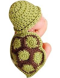 Tenflyer Estilo lindo de la tortuga para bebé Atrezzo fotografía del recién nacido hecho a mano de ganchillo Beanie Hat ropa de bebé (Cian)